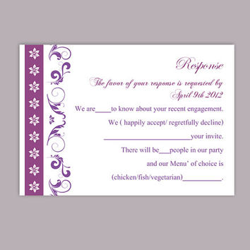 DIY Wedding RSVP Template Editable Text Word File Download Rsvp Template Printable RSVP Cards Eggplant Purple Rsvp Card Elegant Rsvp Card
