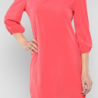 Coral Solid Shift Dress