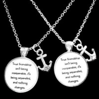 2 Necklaces Anchor True Friendship Long Distance Best Friends Bff Sisters Set