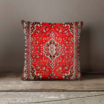 Persian Red Carpet Pillowcase | Decorative Throw Pillow Cover | Cushion Case | Designer Pillow Case | Birthday Gift Idea For Him & Her