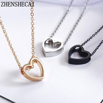 Fashion necklace heart design black gold sliver color hollow simple jewelry for women wedding gift hot new xz3