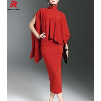 Reaqka Sexy Women summer Party Dresses red Bodycon Dress Batwing Sleeve Elegant Luxury Celebrity Runway Dress Club Vestidos 2017