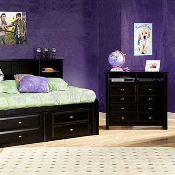 McCormick Road Twin Size Big Bookcase Captain's Bed