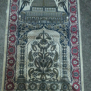 Vintage 1970s Plush Velvet Turkish Wall Decor Tapestry Throw Rug