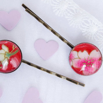 Red Bobby Pin Flower Japanese fabric Hair Pin