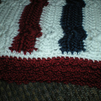 Crochet Baby Afghan - Red White and Blue - Lapghan