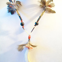 Vintage Beaded Feathered Caribou Necklace Hippie Ethnic Boho Chic Jewelry