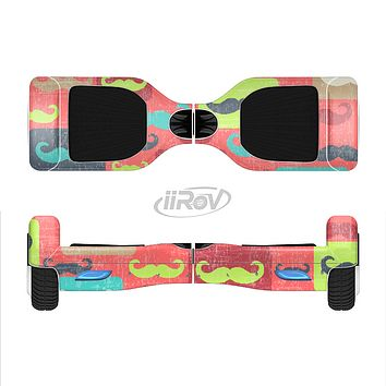 The Vintage Coral and Neon Mustaches Full-Body Skin Set for the Smart Drifting SuperCharged iiRov HoverBoard
