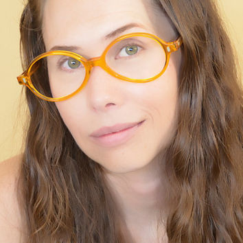 Vintage Yellow Round Eyeglasses NOS Discount Price