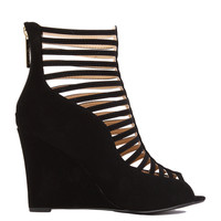 Cut Out Black Ankle Wedge Booties