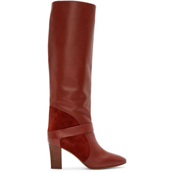 Rust Leather & Suede Tall Boots