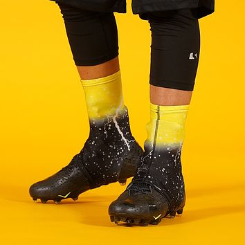 Lightning Yellow Black Spats / Cleat Covers