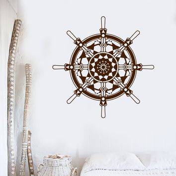 Vinyl Wall Decal Ship Wheel Marine Nautical Art Sailor Stickers Unique Gift (ig4034)