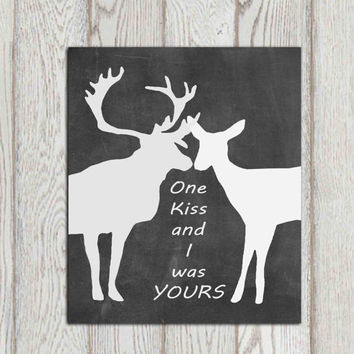 Valentines gift Card Decor Wall art printable print Couple wall art Kiss Love quote Black white chalkboard Deer in love Anniversary gift