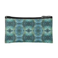 Beautiful Green and Blue Glass Mosaic Cosmetic Bag