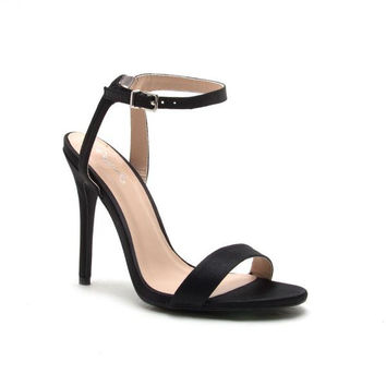 Satin Open Toe Heel