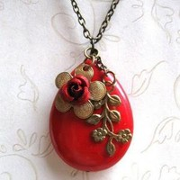Red Flower Necklace, large stone | Lovely Clusters - Beautiful Handmade + Vintage