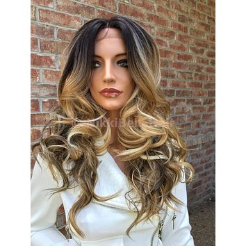 Mixed Blond balayage Lace Front wig 22""