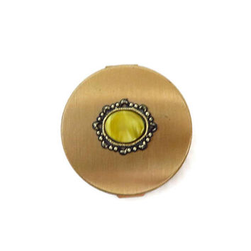 Vintage Gold Tone Compact - 1950s Round Mirrored Powder Compact, Collector's Makeup