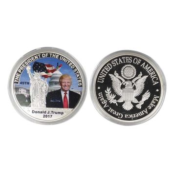 2017 President Donald Trump Inaugural Silver EAGLE Commemorative Novelty Coin US President Trump Statue Of Liberty Coins