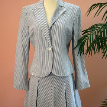 Three Piece Blue and White Cotton Seersucker Summer Suit Petite Size