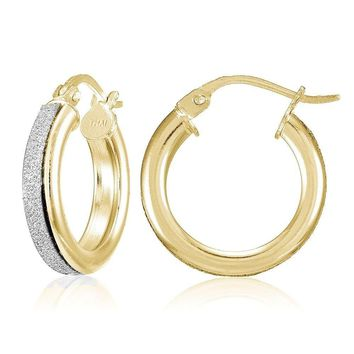 Yellow Gold Flash Sterling Silver Glitter 15mm Round Hoop Earrings