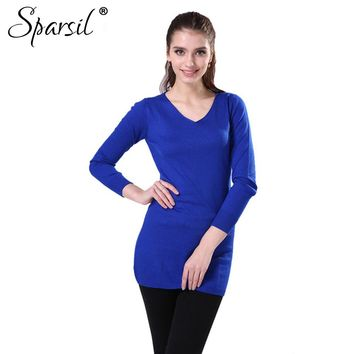 Women Winter Solid Colors Cashmere Long Pullover Autumn Fashion Female V-Neck Knitwear Christmas Sweater