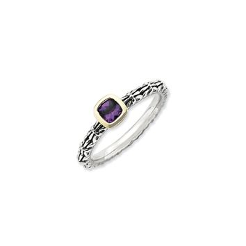 Sterling Silver 14k Gold Plated Checkerboard Amethyst Stackable Ring