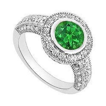 Emerald and Diamond Halo Engagement Ring : 14K White Gold - 1.50 CT TGW