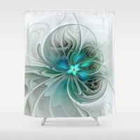 Abstract With Blue, Fractal Art Shower Curtain by Gabiw Art