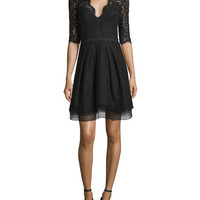 Carolina Herrera Half-Sleeve V-Neck Lace Cocktail Dress, Black
