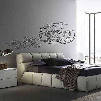wave Wall Decals Ocean Wave Wall Decals Ocean beach Waves Wall Stickers Ocean Wall Decals sea Wall Decal Stickers for Bedrooms kik3420