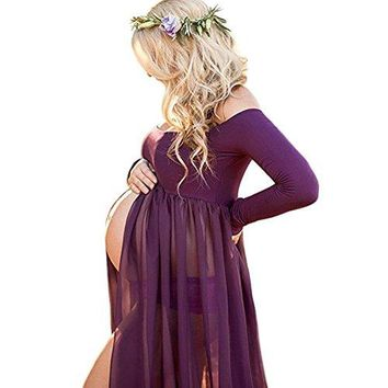 Pregnancy Dress for Photography Split Front Maternity Maxi Dress Off Shoulder Pregnancy Gown for Photo Shoot