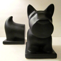 Ceramic Scotty Dog Bookends with chalkboard finish - Home Decor, Bookends