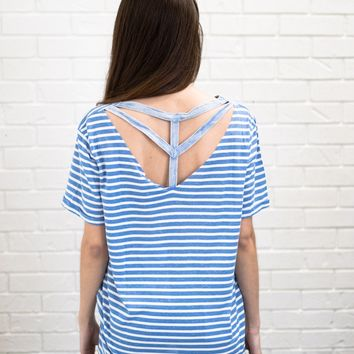 Cut Out Striped Tee