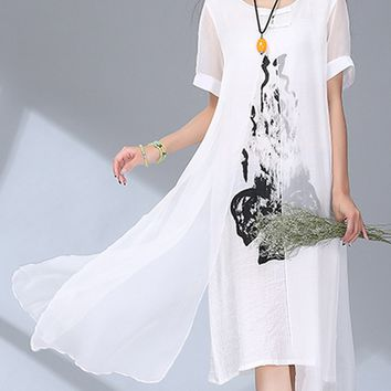 Casual Flowy Round Neck Cutout Printed Shift Dress