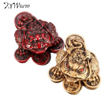 KiWarm Luck Feng Shui Small Three Legged Money for Frog Fortune Toad Chinese Coin Metal Craft Home Decor Bronze Mahogany Color