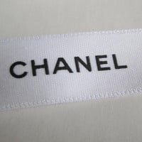 "Sale** Authentic CHANEL White Ribbon with Black Logo 3/4"" - 1 YARD / DIY Headband Hairbow / Gift Wrapping"