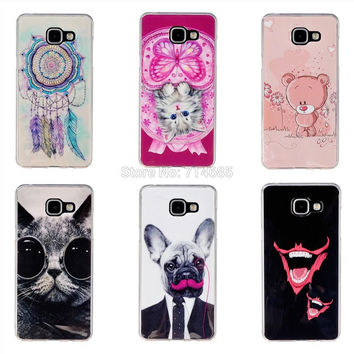 "IMD TPU Luxury Soft Silicon Protective Phone Case for Samsung Galaxy A3 2016 Cover Skin A310F A310 4.7"" A3 6 Cat Bear Dog"