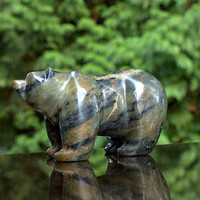 Stone bear soapstone carving hand made polished sculpture animal figurine