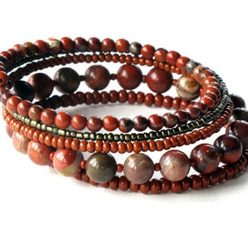 Beaded bracelet stack - oxblood brick red natural stone beads  - 5 stacking bangles