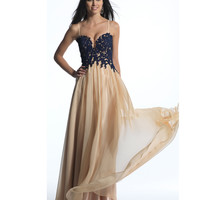 Dave & Johnny 642 Navy & Nude Embroidered Bodice Spaghetti Strap Dress 2015 Prom Dresses