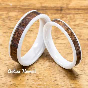 Wedding Band Set of Ceramic Rings with Hawaiian Koa Wood Inlay (4mm & 6mm width, Flat Style )