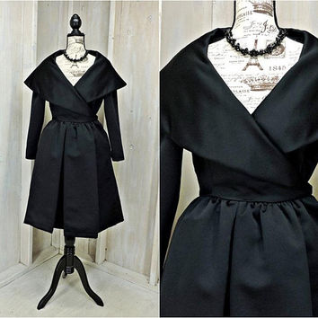 Vintage Victor Costa dress / size S 5 / 6 / Designer / 50s style / Elegant / Black evening dress  / formal / cocktail / Party / Tulle