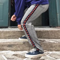 """Kappa"" Unisex Fashion Retro Tartan Stitching Logo Webbing Wide Leg Pants Couple Leisure Pants Trousers"