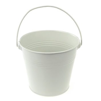 Metal Pail Buckets Party Favor, 5-inch, White