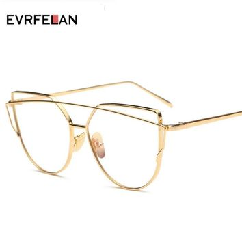 Fashion Metal Frame Glasses For Women Sun Glasses Female Vintage Clear Glasses Mirror Men Lens Glasses Optical