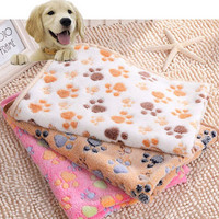 2016 New 40 x 60cm Cute Floral Pet Sleep Warm Paw Print Dog Cat Mat Puppy Fleece Soft Blanket Beds Mat 3 Color