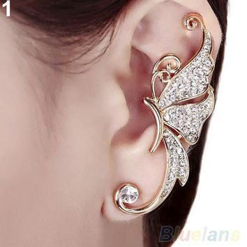 Butterfly Wings Shape Left Ear Clip Clamp Earrings