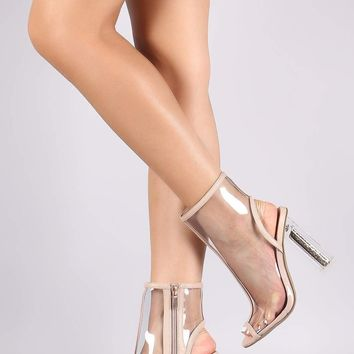 Bamboo Transparent Glitter-Filled Chunky Clear Heeled Booties